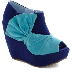 Mai Tai of Day Wedge ($60) ❤ liked on Polyvore featuring shoes, wedges, heels, blue, zapatos, wedge heel shoes, blue platform shoes, platform shoes, fleece-lined shoes and platform wedge shoes