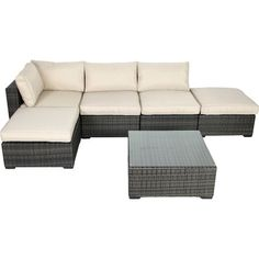 Enjoy sunny afternoons on the patio or beside the pool with this wicker seating group, showcasing a grey finish and beige cushions.       ...