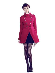 Amazon.com: Huafeng Double Breasted Woolen Jackets Military Coat Womens: Clothing