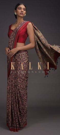 Beige Saree In Sateen With Red And Blue Block Printed Jaal Pattern Online - Kalki Fashion Latest Indian Saree, Indian Sarees Online, Blue Block, Plain Saree, Printed Sarees, Indian Wear, Aesthetic Clothes, Party Wear, Red And Blue