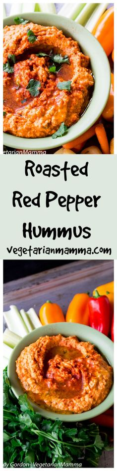 Roasted Red Pepper Hummus is easy to make at home and will take your snacking up to the next level of taste! This recipe uses fresh delicious ingredients.