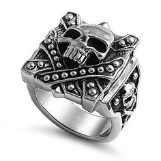 Oxidized Stainless Steel High Polish Casted Skull and Bones Design Men's Fashion Ring (Size 9 to 15) The World Jewelry Center. $20.95. Promptly Packaged with Free Gift Box and Gift Bag
