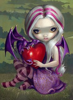 Valentine Dragon coeur féerie art impression par Jasmine Becket-Griffith 8 x 10