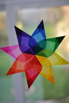 I love Waldorf stars in general, but I especially like how this one shows the color wheel. This is an art project combined with an art lesson. Art For Kids, Crafts For Kids, Arts And Crafts, Paper Crafts, Diy Crafts, Christmas In Germany, German Christmas, Christmas Star, Origami Ball