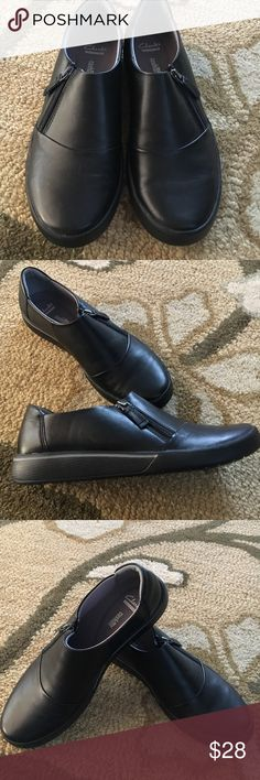 Clarks cushion soft shoes NWOT! Never worn Clarks soft cushion shoes. Black with side zip. Size 9. Light as a feather! Leather upper. Clarks Shoes Flats & Loafers