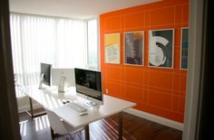 Orange walls with grid system art arrangement Interior And Exterior, Interior Design, Orange Walls, Wall Finishes, Grid System, Grid Design, Office Walls, Office Artwork, Wall Treatments