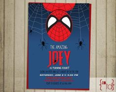 Make your own spider man birthday invitations spiderman birthday superhero birthday invitation diy printing by solutioingenieria Gallery