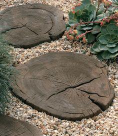 Timberstone Log Garden Stepping Stones (Made of Concrete!) Timberstone Log Garden Stepping Stones (M Diy Garden, Garden Crafts, Dream Garden, Garden Paths, Garden Projects, Garden Art, Garden Landscaping, Garden Design, Landscaping Design