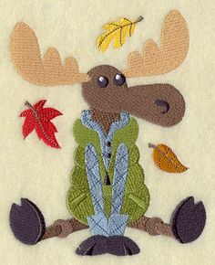 AUTUMN MOOSE LARGE  Machine Embroidery Quilt by AzEmbroideryBarn, $15.95