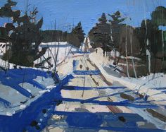 Home Line By Hermit's Road Original Landscape Painting by Paintbox