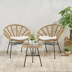 Turn Your Backyard Into the Perfect Getaway (Outdoor Furniture Round-Up) Rattan, Wicker Chairs, Dining Chairs, 3 Piece Bistro Set, Beige Cushions, Glass Side Tables, Up House, Tiny House, Acacia Wood