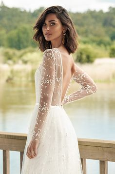 Moonlight Wedding Dress: Long flowy dress with deep V neckline, open back and lo. Moonlight Wedding Dress: Long flowy dress with deep V neckline, open back and long see through sleeves with dots all Top Wedding Dresses, Stunning Wedding Dresses, Wedding Dress Trends, Lace Wedding Dress, Bridal Dresses, Wedding Gowns, Wedding Bride, Backless Wedding, Elegant Bride