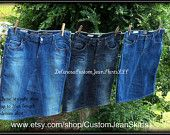 Custom to your size short Jean Skirt modest below the knee size 0 2 4 6 8 10 12 14 16 18 20 22 24 26