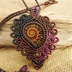 Macrame Necklace Pendant Ammonite Fossil Stone Waxed Cord Handmade #Handmade #Pendant