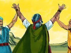 Free Bible illustrations at Free Bible images of the Israelites' struggle against the Amalekites as Moses prays. (Exodus 17:18-16): Slide 9