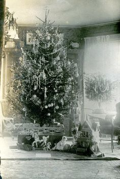 Another pinner's Great Uncle Billy Haueisen's Christmas tree ca. 1900..with two small trees for his children.... revolving tree stand!