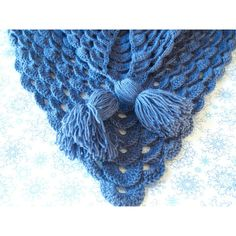 Hand Knitted Warm Shawl/ Crochet Handmade Shawl/ blue Shawl/ gift for... (95 BGN) ❤ liked on Polyvore featuring accessories, scarves, hand knitted scarves, blue shawl, blue scarves, crochet scarves and crochet shawl