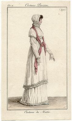 "French ""An 11"" fashion plates (Sept 1802 to Sept 1803) - An 11 Costume Parisien plate 491 Costume du Matin"