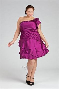 Plus Size One-shoulder cocktail dress with tiered skirt image