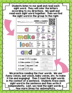 Listen and Learn Activities {Pre-Primer Sight Words)