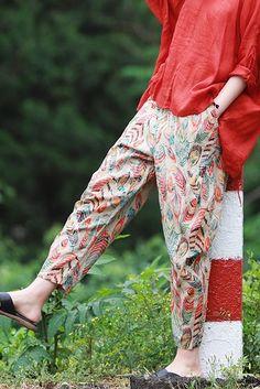 Casual Floral Cotton Linen Pants Summer Loose Hip Trousers K10062 Harem Pants, Trousers, Type Of Pants, Summer Pants, Women Pants, Kurtis, Hijab Fashion, Cotton Linen, Clothes For Women