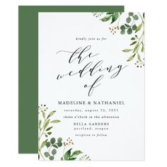 Fall in love with beautiful greenery wedding invitations for your own greenery-themed wedding party and receive OFF when ordering wedding cards Botanical Wedding Invitations, Watercolor Wedding Invitations, Modern Wedding Invitations, Wedding Programs, Wedding Stationery, Wedding Venues, Wedding Ideas, Wedding Inspiration, Budget Wedding
