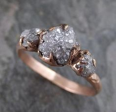 Raw Diamond Rose gold Engagement Ring Rough Gold Wedding Ring diamond Wedding Ring Rough Diamond Ring