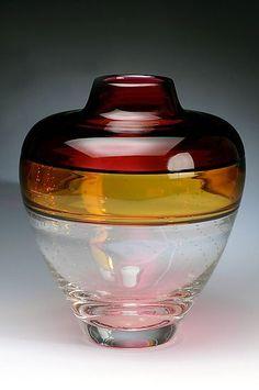 david russell glass | Horizon Incalmo Vase 3: David Russell: Art Glass Vessel - Artful Home