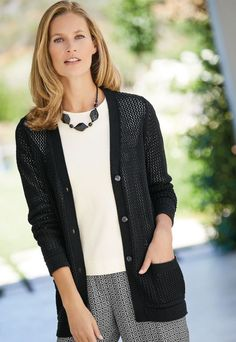 Cotton cardigan | £69 | A chic cotton cardigan with an all-over textured open stitch design. This V-neck style has long sleeves, patch pockets and purl stitch trims.