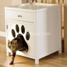 Furniture Cat Litter Box Cabinet - Foter