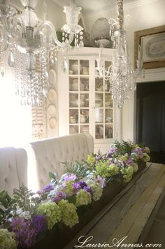French Country...crystal chandeliers...distressed furniture...and white, white, white!!!