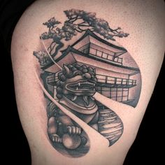 """""""Regardless of my first semi-mediocre critique, I stand by this Technically speaking one of the best and shows finesse with black and grey(which is not my strong suit) My canvas can wear this tattoo with pride for years to come! Japanese Temple Tattoo, Koi Tattoo Sleeve, Ink Master Seasons, Cool Tattoos, Awesome Tattoos, My Canvas, Stand By Me, Black And Grey, Skull"""