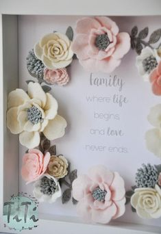 Pastel felt flowers box frame floral wall art picture box frame wedding memory gift mother s day personalised gift custom frame quote Felt Flower Wreaths, Felt Flowers, Diy Flowers, Fabric Flowers, Paper Flowers, Material Flowers, Felt Wreath, Flower Ideas, Floral Flowers