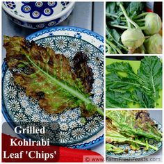Grilled Kohlrabi Leaf Chips on a Stick--if you like kale chips, you'll ...