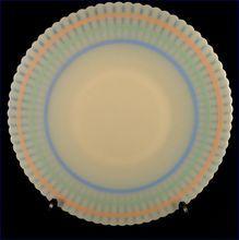 """MacBeth Evans Petalware Pastel Bands 11"""" Cake Salver Serving Plate Vintage 1930's Depression Glass"""
