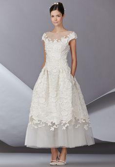 Hello Audrey Hepburn... Show off your shoes in this stunning tea-length! Carolina Herrera Spring 2014 Wedding Dresses