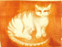 Pauline Bewick (b. - Cat, 1964 - Lithograph on paper Celestial, Paper, Animals, Animales, Animaux, Animal, Animais
