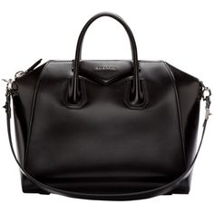 Pre-owned Givenchy Patent Leather Medium Antigona Shoulder Bag ($1,950) ❤ liked on Polyvore featuring bags, handbags, shoulder bags, black, givenchy purse, preowned handbags, givenchy handbags, studded shoulder bag and zipper purse