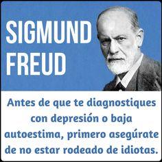 Sigmund Freud. Antes de que te diagnostiques con depresión o baja autoestima, primero asegúrate de no estar rodeado de idiotas.