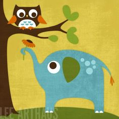 98B Bright Elephant Flower and Owl 6 x 6 Print by leearthaus, $15.00
