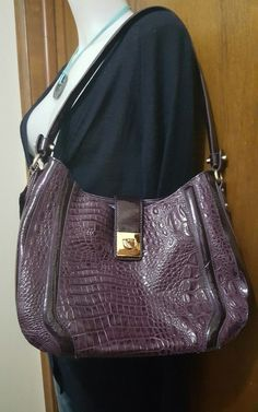 Madi Claire MC purse shoulder bag hobo purple croc embossed patent leather NICE | Clothing, Shoes & Accessories, Women's Handbags & Bags, Handbags & Purses | eBay!