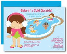 Indoor pool Party Invitations for Girls. Plan a steamy get away for a birthday with this winter pool party invite. Pool Party Birthday Invitations, Thank You Cards, Wolf Lodge, Indoor, Birthday Celebration, Girls, Birthdays, Bright, Park
