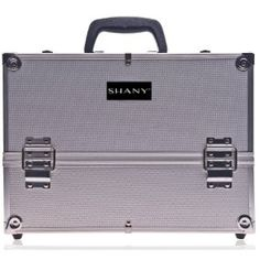 I need some kind of makeup storage system desperately. SHANY Essential Pro Makeup Train Case with Shoulder Strap and Locks - Silver : Makeup Train Cases : Beauty