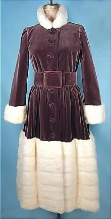 c. 1970s Norman Norell velvet and fur coat