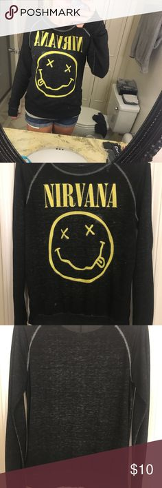 Light Weight Nirvana Shirt This top is in great used condition!  - Size SMALL -  Light weight - Distressed look  - A LITTLE sheer - Colors - black and yellow  Flaws- - One small hole in the right shoulder.  !!! BRAND IS NOT BRAVADO, TAG JUST SAYS NIRVANA !!!  Tags: #nirvana #guns #and #n #roses #band #rock #fidget #kurt #cobain #spinner #distressed #long #sleeve #light #weight #summer #winter #fall #spring #shipping #small #black #yellow #goth #emo #grunge #axl #rose #slash Tops Tees - Long…