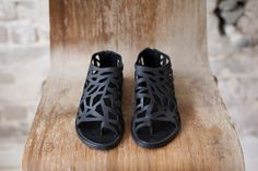 Flat leather cut out sandals / Black summer by WalkByAnatDahari