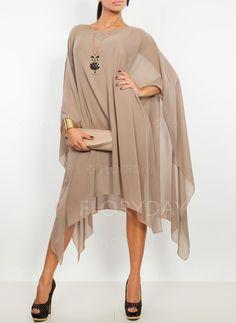 Sukienki - $40.99 - Szyfon Solidny Długi Rękaw High Low Nieformalny Sukienki (1955122447)
