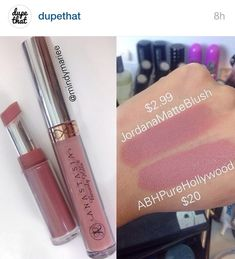 Jordana Matte Blush dupe for Anastasia Pure Hollywood lipstick-might have to try this. Jordana lip liner in pink love is my favorite lippy right now