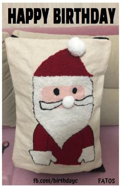 Happy birthday gif message with santa claus Happy Birthday Greeting Card, Greeting Cards, Christmas Stockings, Santa, Messages, Throw Pillows, Holiday Decor, Needlepoint Christmas Stockings, Toss Pillows