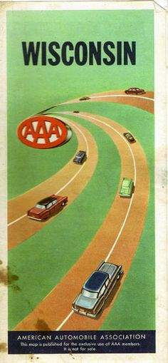 Vintage Highway Road Map Wisconsin Aaa Complimentary 1956 25 00 Vintage Collectibles Sewing Patterns Postcards